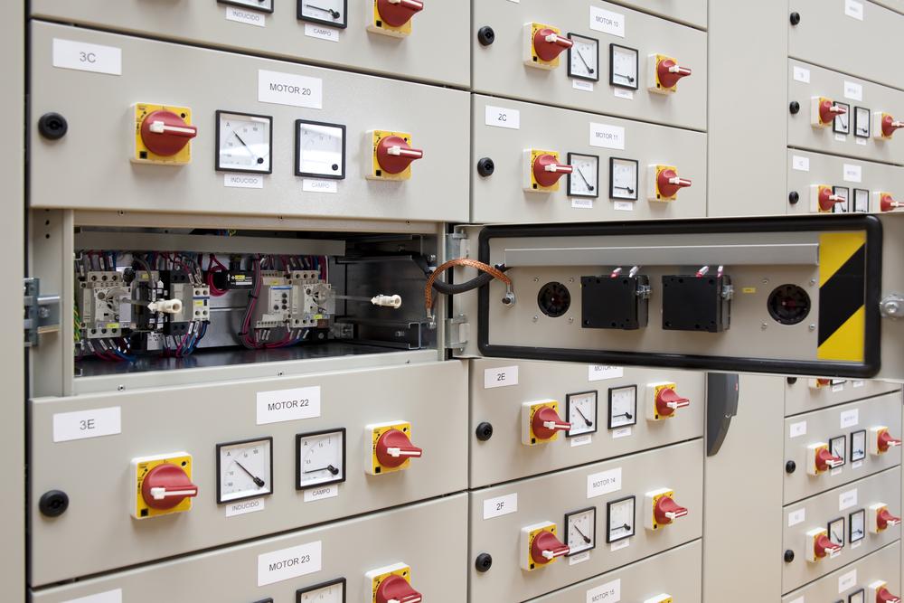 Panel containing industrial motor controls in Atlanta, GA