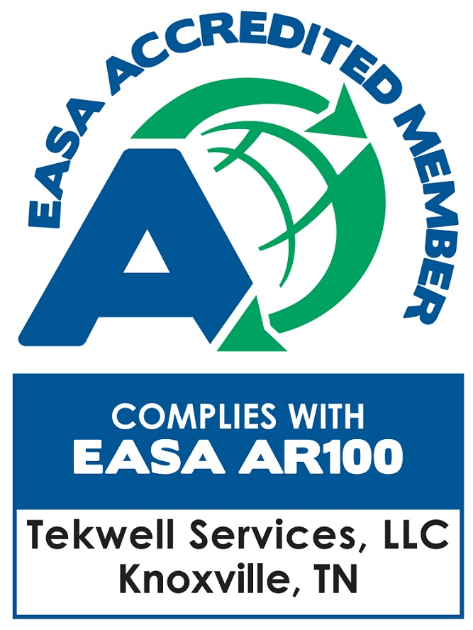 The EASA accreditation logo for Tekwell Services an electric motors repair shop in Knoxville, TN